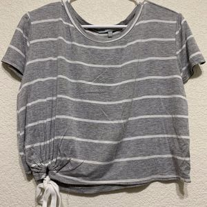 Sweet Rain Stripe Gray/White Top